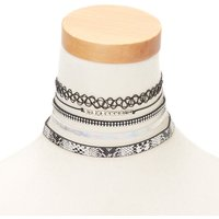 Claire's Silver Metallic Snake Print Choker Necklaces - 5 Pack - Snake Gifts