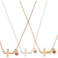 Claire's Best Friends Mixed Metal Cross Pendant Necklaces Bracelet - Necklaces Gifts