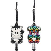 Claire's Rainbow Leopard & Zebra Stylus Phone Charms - Charms Gifts