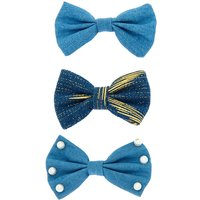 Claire's Pearl Denim Hair Bow Clips - 3 Pack - Hair Gifts