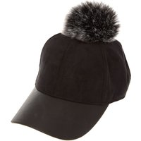 Claire's Black Faux Suede And Leather Baseball Hat With Pom - Baseball Gifts