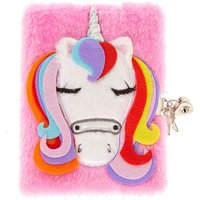 Claire's Glitter Pink Soft Unicorn Lock And Key Diary - Key Gifts