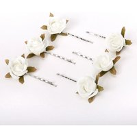 Claire's Rose Flower Hair Pins - Ivory, 6 Pack - Ivory Gifts