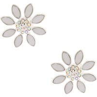 Claire's Silver Opal Crystal Flower Clip On Stud Earrings - Crystal Gifts