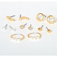 Claire's Gold Classic Pearl Mixed Earrings - Ivory, 6 Pack - Pearl Gifts