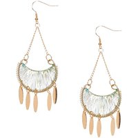 Claire's Mint Woven Yarn Gold Tone Coin Fringe Drop Earrings - Mint Gifts