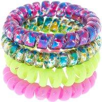 Claire's Neon Splatter Spiral Hair Bobbles - 4 Pack Bracelet - Ties Gifts