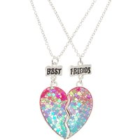 Claire's Best Friend Ombre Star Glitter Split Heart Necklaces - Friend Gifts