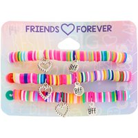 Claire's Rainbow Disc Heart Charm Stretch Friendship Bracelets - 3 Pack - Charm Gifts