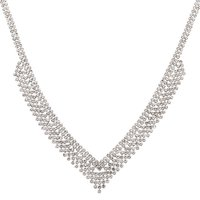 Claire's Silver Rhinestone Chevron Statement Necklace - Fashion Gifts