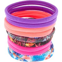 Claire's Tropical Print And Solid Hair Ties - 10 Pack - Ties Gifts