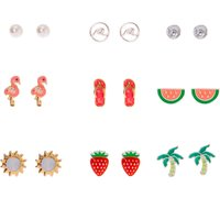 Claire's Silver Beach Vibes Stud Earrings - 9 Pack - Jewellery Gifts