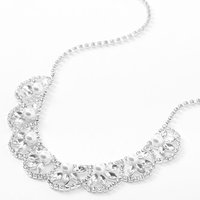 Claire's Silver Rhinestone Pearl Scalloped Leaf Statement Necklace - Pearl Gifts