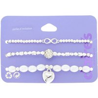 Claire's Girly Pearl Stretch Bracelets - 3 Pack - Charm Bracelet Gifts