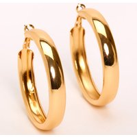 Claire's Gold 50MM Tube Hoop Earrings - Jewellery Gifts