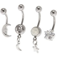 Claire's Silver Cubic Zirconia 14G Celestial Belly Rings - 4 Pack - Rings Gifts