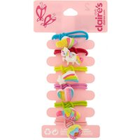 Claire's Club Rainbow Glitter Hair Ties - 6 Pack - Ties Gifts