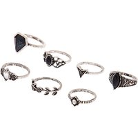 Claire's Silver Gothic Glam Rings - Black, 7 Pack - Gothic Gifts