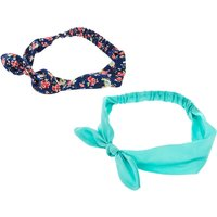 Claire's Navy Flower + Mint Bow Headwraps - 2 Pack - Mint Gifts