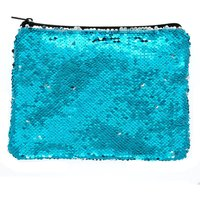 Claire's Reversible Sequin Makeup Bag - Turquoise - Turquoise Gifts