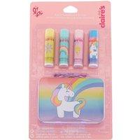 Claire's Club Unicorn Lip Balm & Tin Set - 4 Pack - Lip Balm Gifts