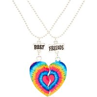 Claire's Rainbow Tie Dye Heart Best Friend Necklaces - Necklaces Gifts