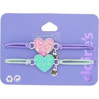Claire's Holographic Heart Stretch Friendship Bracelets - 2 Pack - Friendship Gifts