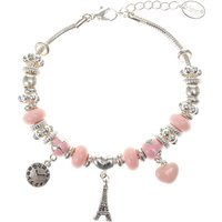 Claire's Silver Eiffel Tower Charm Bracelet - Pink - Charm Bracelet Gifts