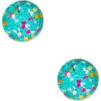 Claire's Globe Confetti Stud Earrings - Turquoise - Turquoise Gifts