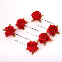 Claire's Ruby Red Rose Flower Hair Pins - 6 Pack - Ruby Gifts