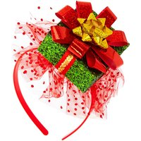 Claire's Glitter Present Headband - Red - Present Gifts