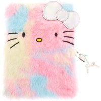 Claire's Hello Kitty Furry Pastel Rainbow Lock Notebook - Hello Kitty Gifts