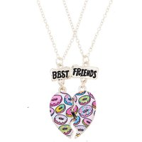 Claire's Best Friends Donut Heart Pendant Necklaces - 2 Pack - Necklaces Gifts