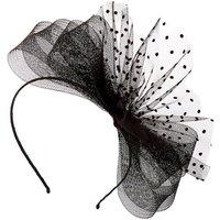 Claire's Polka Dot Bow Fascinator Headband - Black - Black Gifts