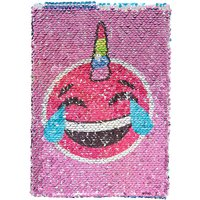 Claire's Laughing Crying Emoji To Rainbow Reversible Sequin Notebook - Laughing Gifts