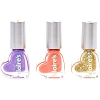 Claire's Glittery Heart Water Based Nail Polish Trio - Nail Polish Gifts