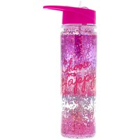 Claire's Choose Happy Pink Shaker Glitter Water Bottle - Water Gifts