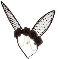 Claire's Floral Polka Dot Bunny Ears Headband - Black - Black Gifts
