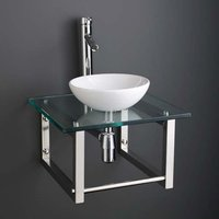 Small Round Basin and Glass Shelf Bundle White Ceramic 320mm Diameter Sink with Tap Waste and Trap Cami