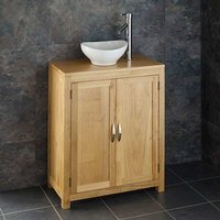 Small Oval Basin and Oak Bathroom Storage Unit Bundle Ceramic 300mm x 280mm Sink with Tap and Waste Bologna