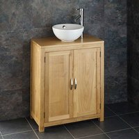 Small Round Basin and Oak Bathroom Storage Unit Bundle Ceramic 300mm Diameter Sink with Tap and Waste