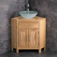 Corner Oak Vanity Unit with Round Basin Bundle Frosted Glass 420mm Diameter Sink with Tap and Waste Alta