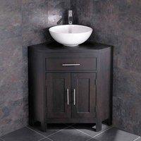 Round Bathroom Bowl Wash Basin with Alta Wenge Dark Wood Double Door Corner Cabinet