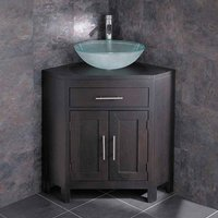 Large Corner Dark Oak Vanity Unit with Round Basin Bundle 420mm Diameter Frosted Glass Sink with Tap and Waste Alta