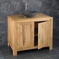 Bathroom Oak Vanity Storage Unit 900mm + Black Stone Basin Set ALTA90