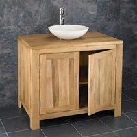 Large Oak Bathroom Storage Vanity Unit 900mm + Cream Stone Basin Set ALTA90