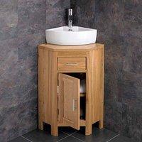 Small Corner Oak Vanity Unit with Corner Basin Bundle Ceramic 404mm x 312mm Sink with Tap and Waste Alta