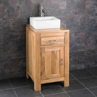 Solid Oak Vanity Unit with Small Rectangle Basin Bundle Ceramic 330mm x 280mm Sink with Tap and Waste Alta