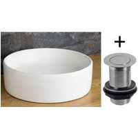 Countertop Basin Round | £49 Value Range | Bathroom Washbasin Sink 410mm Dia + Waste Plug | Caserta