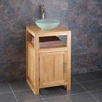 310mm Round Glass Sink Set + Solid Oak 460mm Bathroom Vanity Storage Unit CUBE46